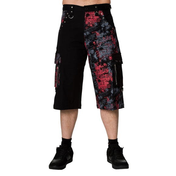 Dead Threads - Men's Grey, Black and Red Design Punk Inspired Long Shorts