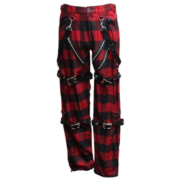 Dead Threads - Men's Red and Black Tartan Design Straight Leg Trousers