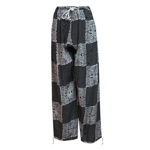 Dead Threads - Women's Monochrome Prints Trousers Boho Style with Drawstrings