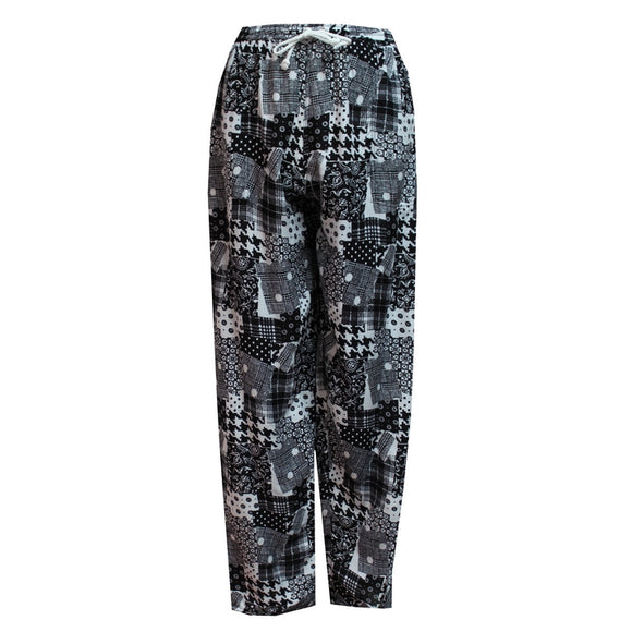 Dead Threads - Women's Black and White Boho Style Trousers with Drawstrings
