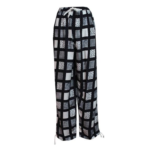 Dead Threads - Women's Black and White Boho Style Trousers with Two Pockets