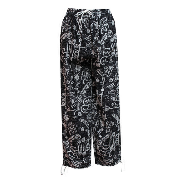 Dead Threads - Women's Black and White Boho Style Trousers Monochrome Prints