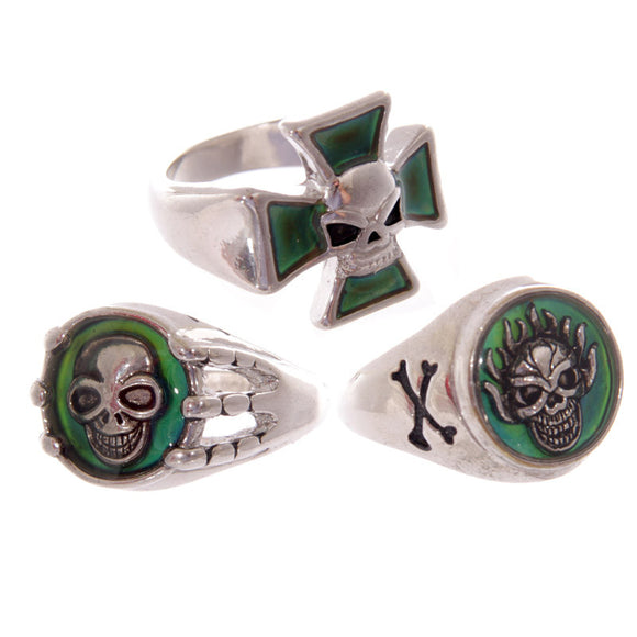 Egg n Chips London - Fun Kids Pirate Skull Signet Mood Ring - Egg n Chips London