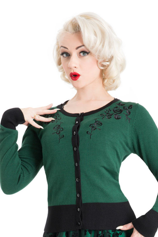 Voodoo Vixen Clothing - Tammy Beautiful Wintery Green Cardigan - Egg n Chips London