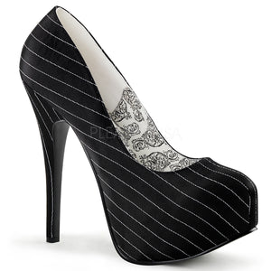 Bordello - Teeze06 Black Pinstripes Satin Concealed Platform Pump - Egg n Chips London