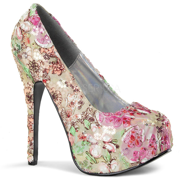 Bordello - Teeze06 Pink Multi Floral Fabric Platform Pump - Egg n Chips London