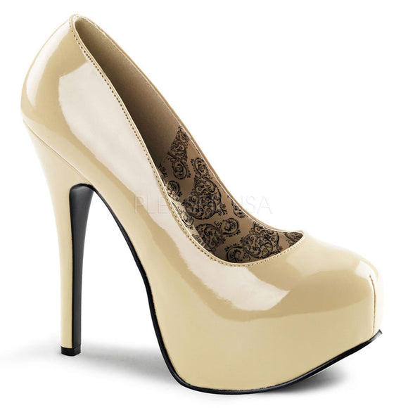 Bordello - Teeze06 Cream Patent Concealed Platform Pump - Egg n Chips London
