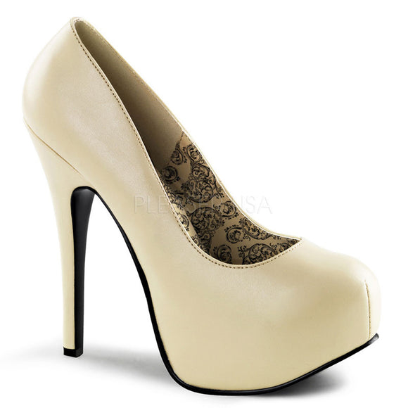 Bordello - Teeze06 Cream Pu Concealed Platform Pump - Egg n Chips London