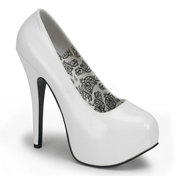 Bordello - Teeze06 White Patent Concealed Platform Pump - Egg n Chips London