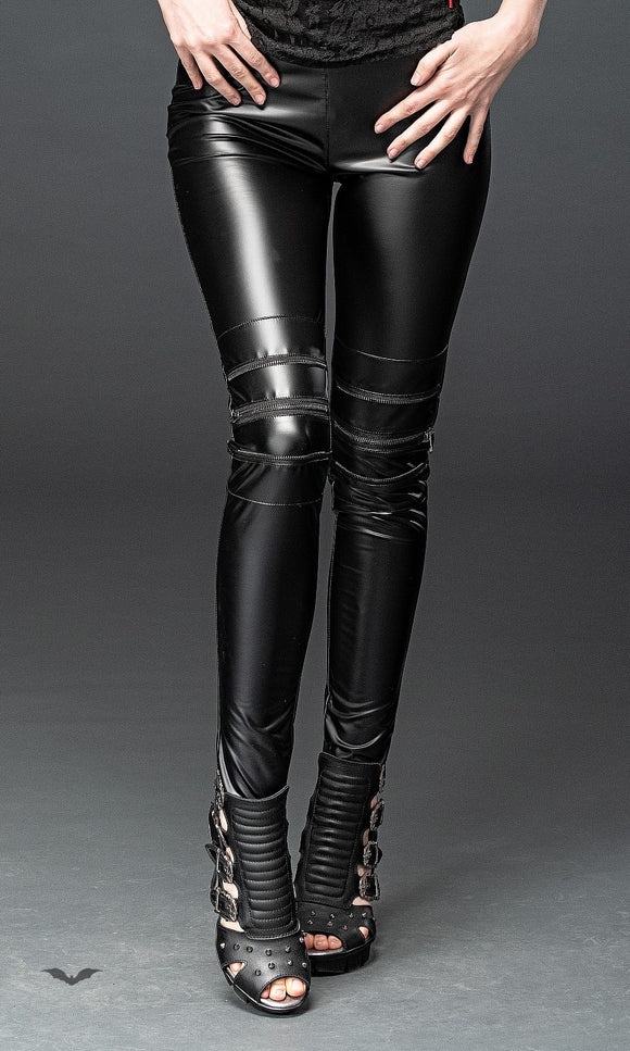 Queen of Darkness - Tight wet-look trousers with decorative