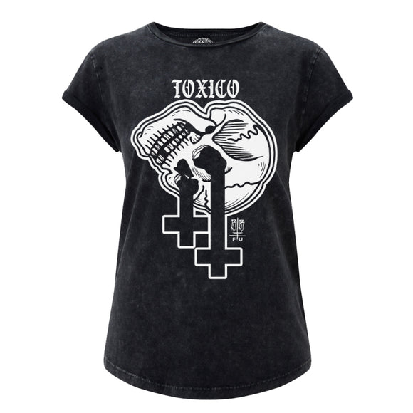 Toxico Clothing - Skull Cross Rolled Sleeve Tee