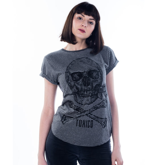 Toxico Clothing - Skull Rose Rolled Sleeve Tee