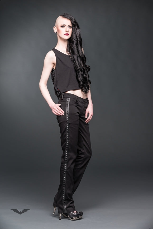 Queen of Darkness - Trousers with fake-leather applications