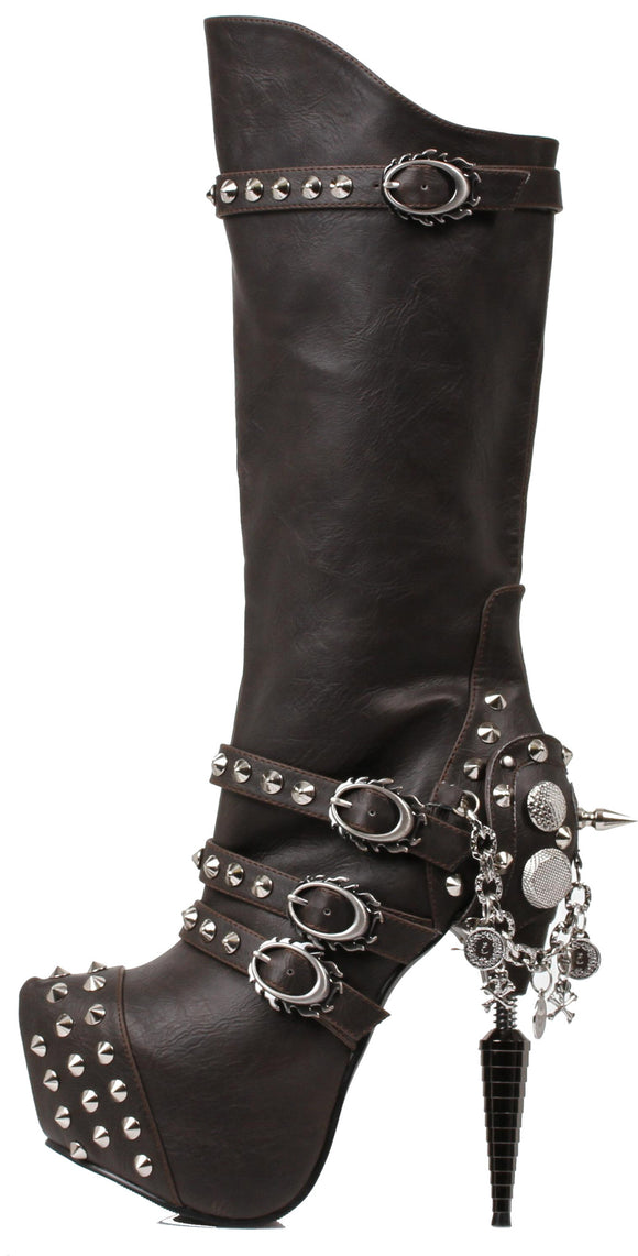 Hades Shoes - Valda Black Steampunk Boots - Egg n Chips London