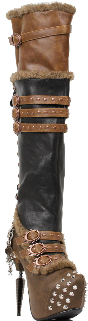 Hades Shoes - Brown Ventail Steampunk Boots