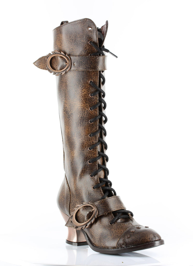 Hades Shoes - Brown Vintage Steampunk Boots - Egg n Chips London