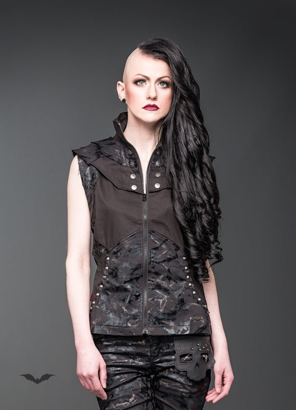 Queen of Darkness - Vest with hood and buttons