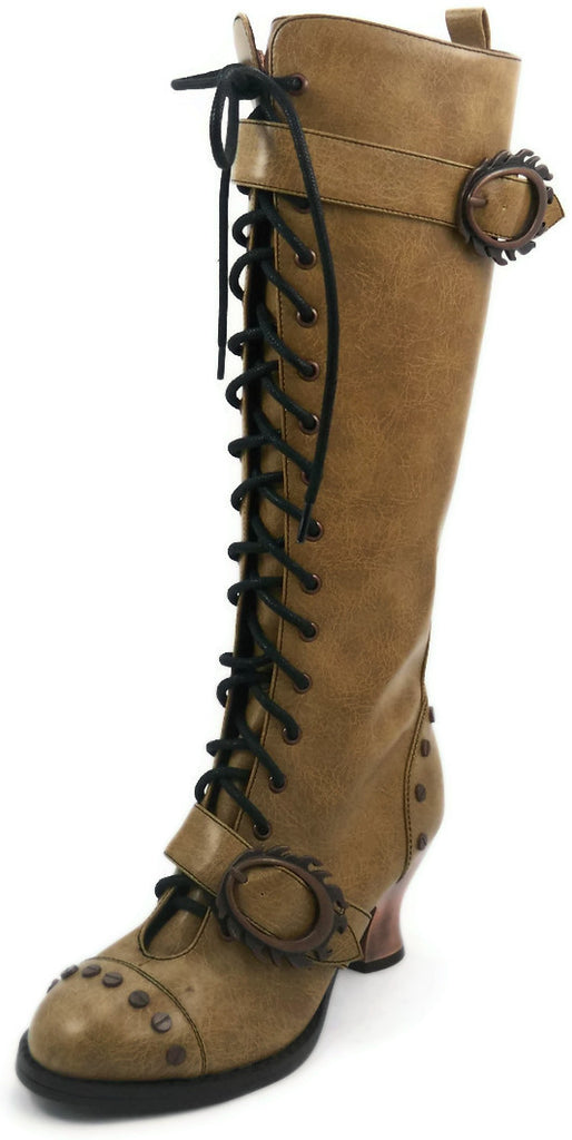 Hades Shoes - Vintage Mustard Steampunk Boots
