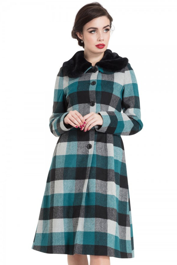 Voodoo Vixen - Beatrice Woolly Check Coat - Egg n Chips London
