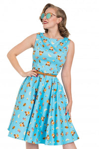 Voodoo Vixen - Blue Honey Flared Cat Print Dress