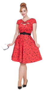 Voodoo Vixen - Connie Red Flared 50s dress - Egg n Chips London