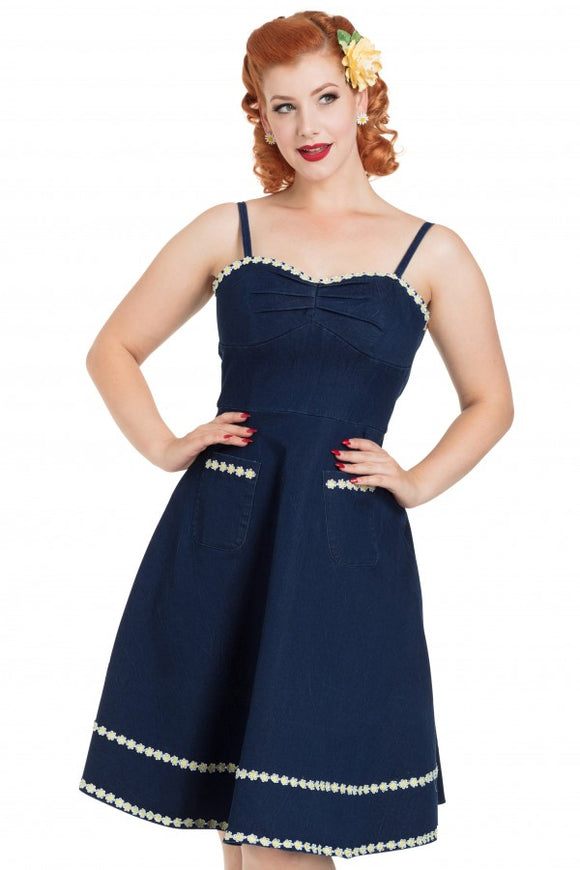 Voodoo Vixen - Daisy May Denim Flaired Dress