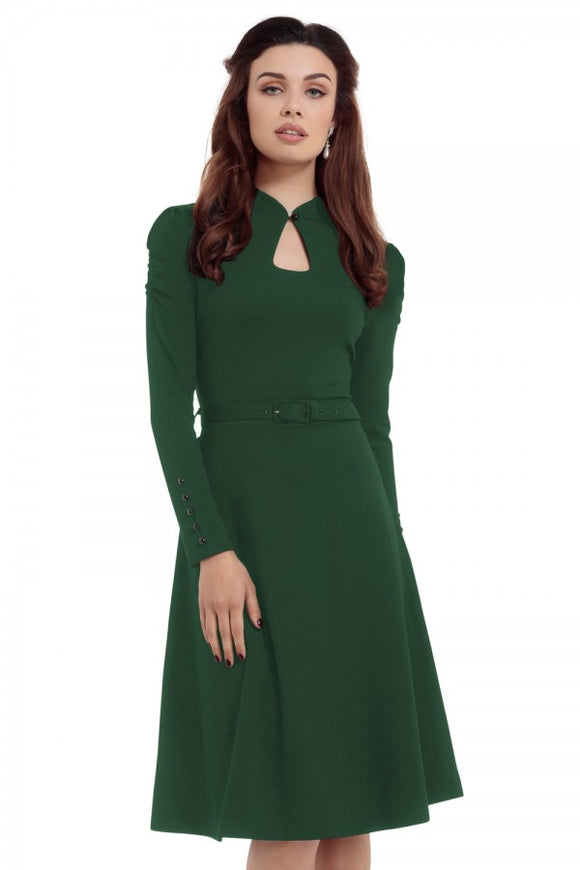 Voodoo Vixen - Dita 50s Flared Green Dress with Cut-out