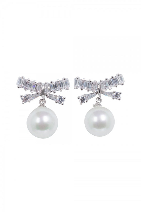 Voodoo Vixen - Elegant Pearl & Bow Earrings - Egg n Chips London