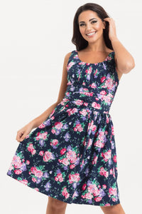 46a0003a764 Voodoo Vixen - Ethal Navy Floral Summer Dress