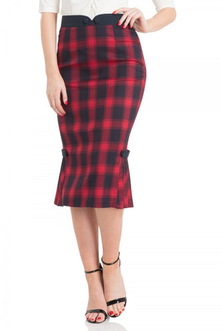 Voodoo Vixen - Frenchie Pleated Hem Pencil Skirt