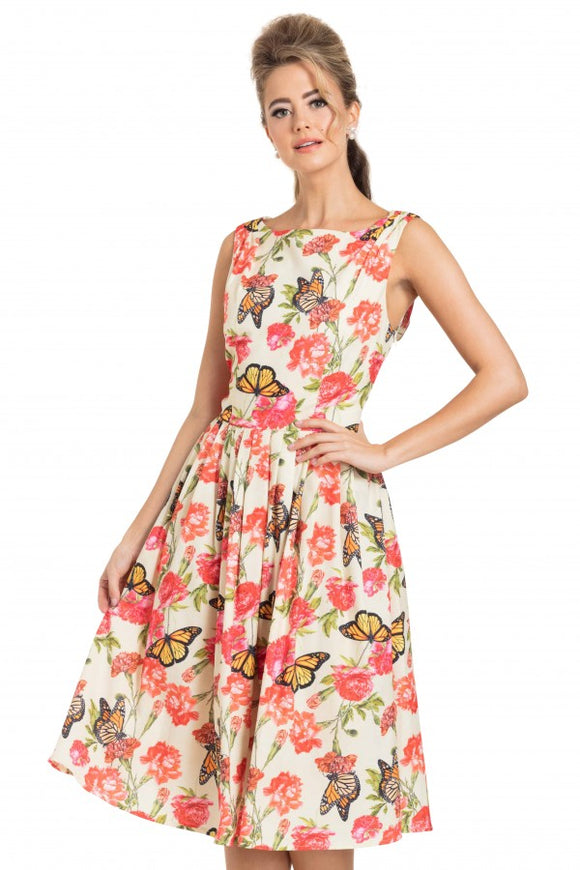 Voodoo Vixen - Laura Cream Butterfly Swing Dress