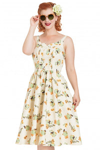 Voodoo Vixen - Maria Cactus Beige Print Flared Dress