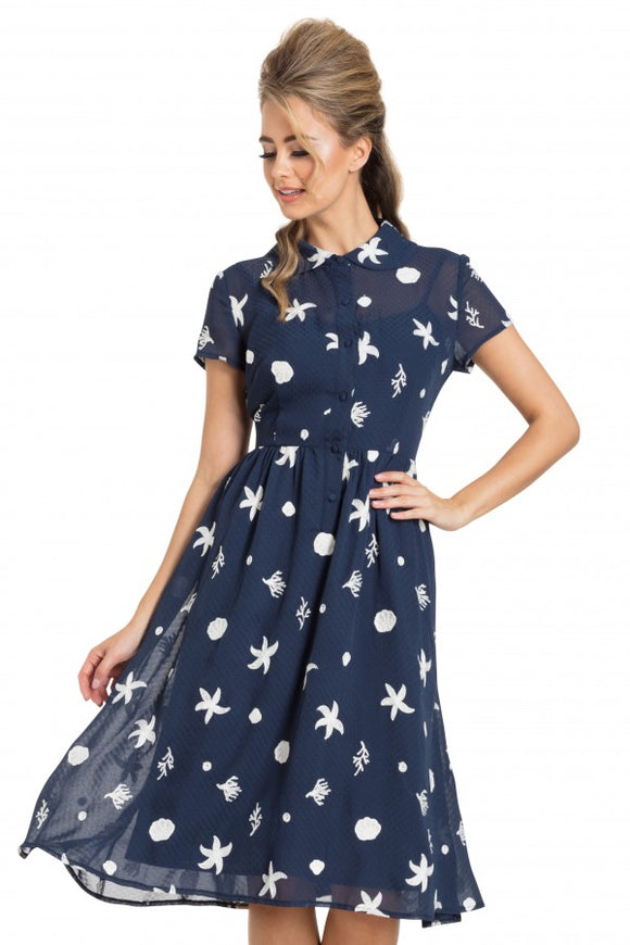Voodoo Vixen - Mary Under-The-Sea Printed Swing Navy Dress