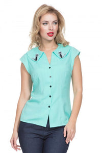 Voodoo Vixen - Maya Mint Kitty Shirt - Egg n Chips London