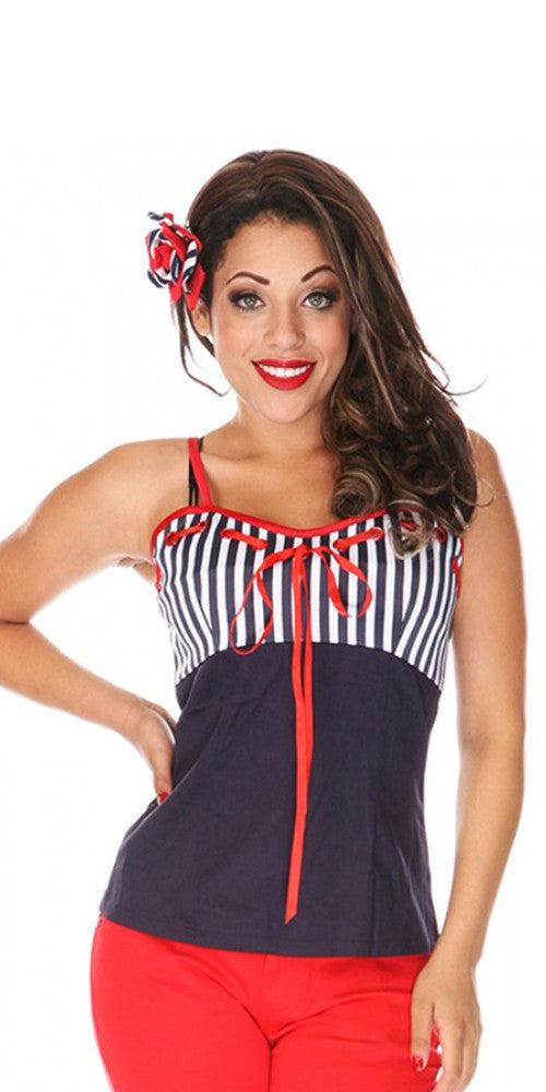 Voodoo Vixen - Molly Red Sailor Top - Egg n Chips London