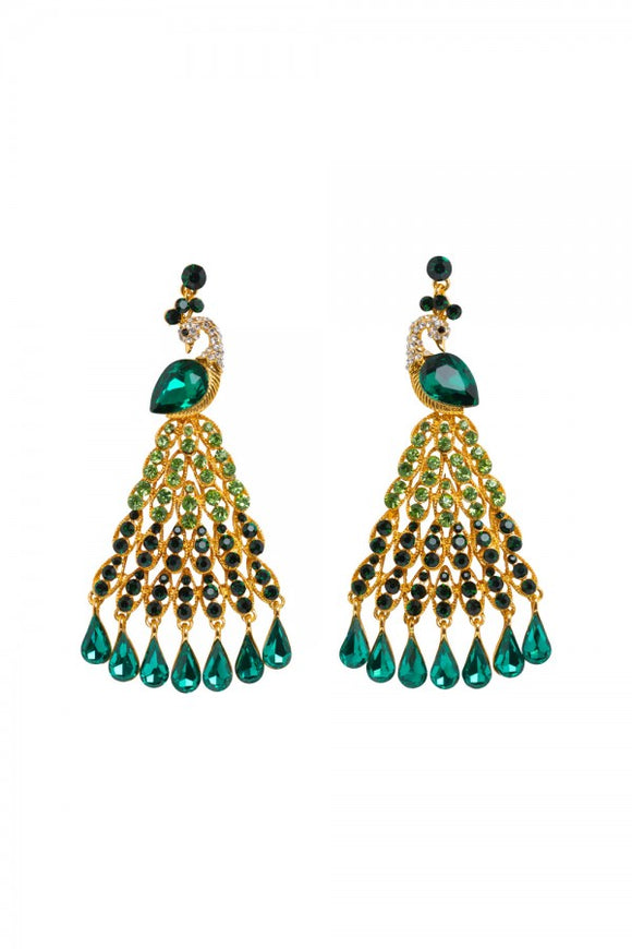 Voodoo Vixen - Peacock Chandelier Earrings - Egg n Chips London