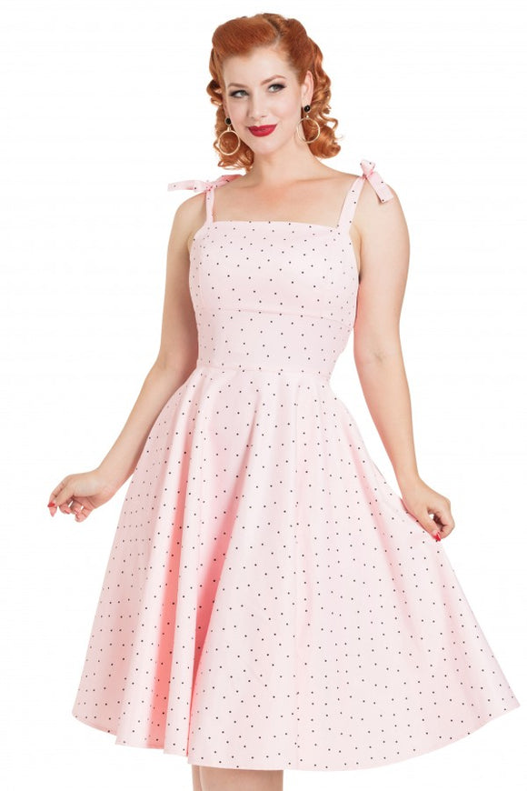 Voodoo Vixen - Pink Hannah Polka Dot Dress
