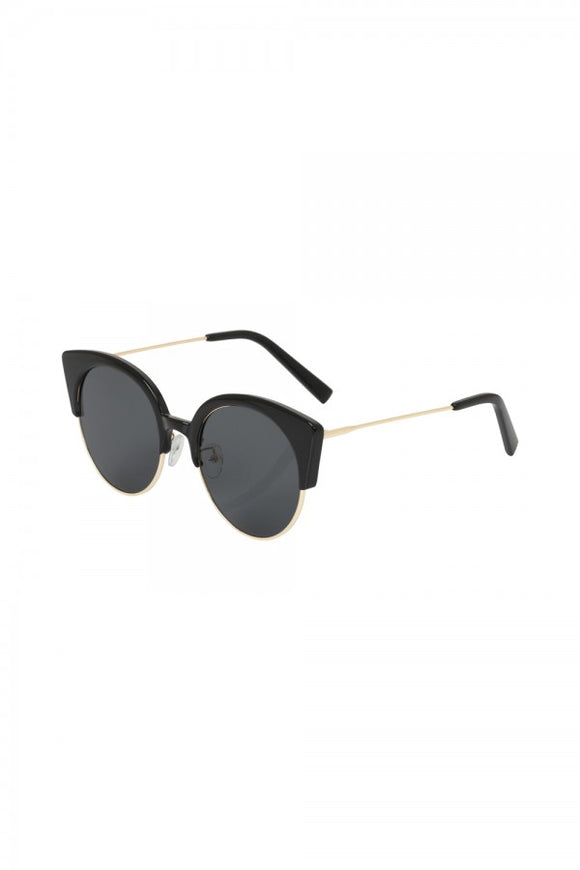 Voodoo Vixen - Retro Cat Eye Clubmaster Sunglasses Black - Egg n Chips London