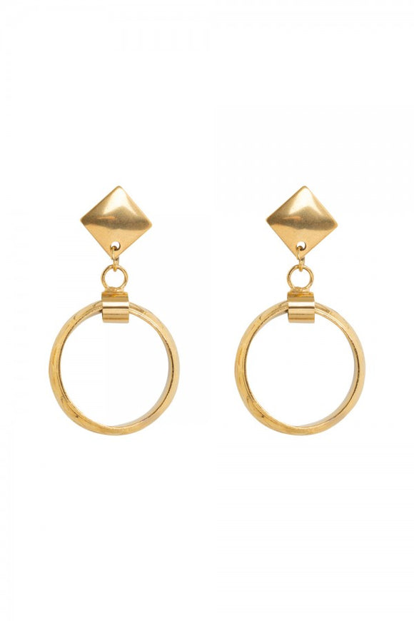 Voodoo Vixen - Retro Gold Hoops With Engraving - Egg n Chips London