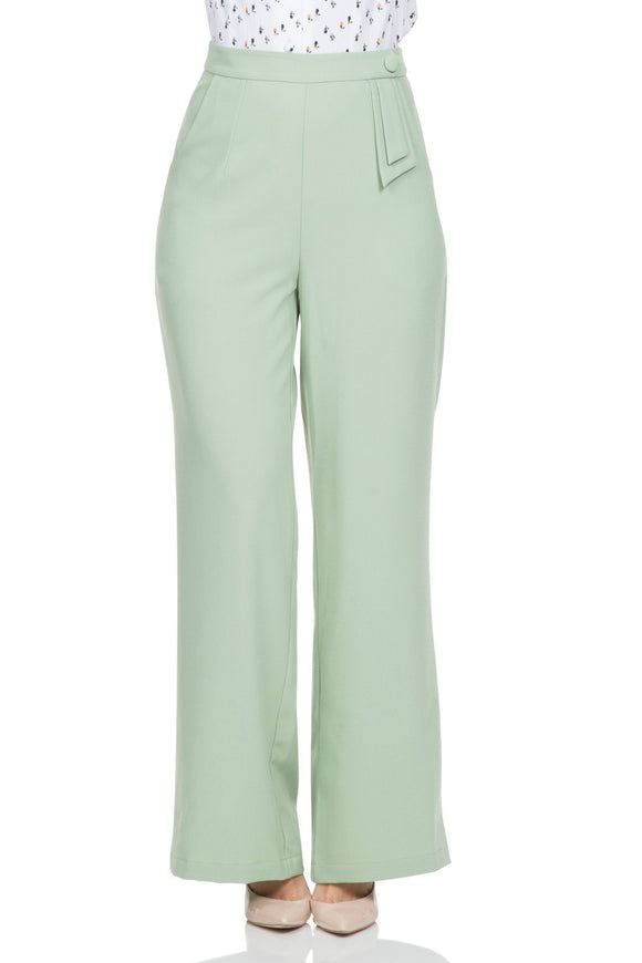 Voodoo Vixen - Sadie Pastel Green Trousers - Egg n Chips London