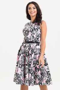 Voodoo Vixen - Sally Flared Floral Dress Pink
