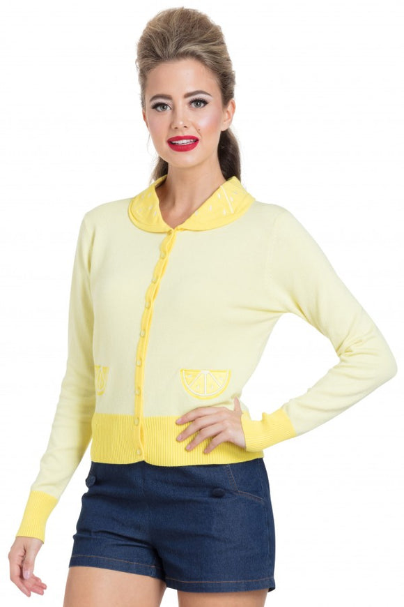 Voodoo Vixen - Sasha Yellow Lemon Cardigan