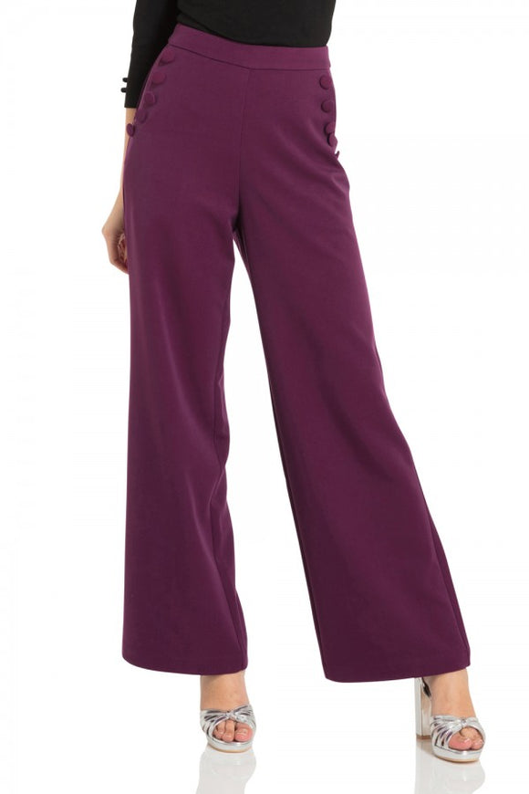 Voodoo Vixen - Stacey Purple 40s Style Trousers - Egg n Chips London