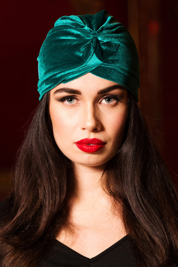 Voodoo Vixen - Teal Vintage Style Velvet Turban - Egg n Chips London