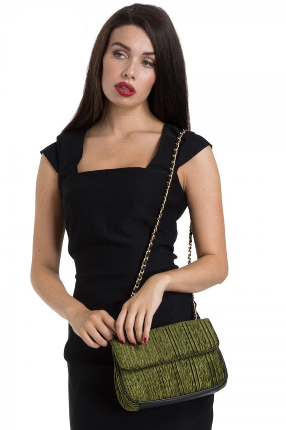 Voodoo Vixen - Velvet Evening Bag With Mirror Green - Egg n Chips London