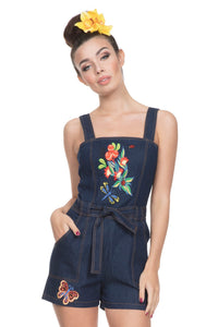 Voodoo Vixen - Women's Callie Denim Embroidered Playsuit - Egg n Chips London