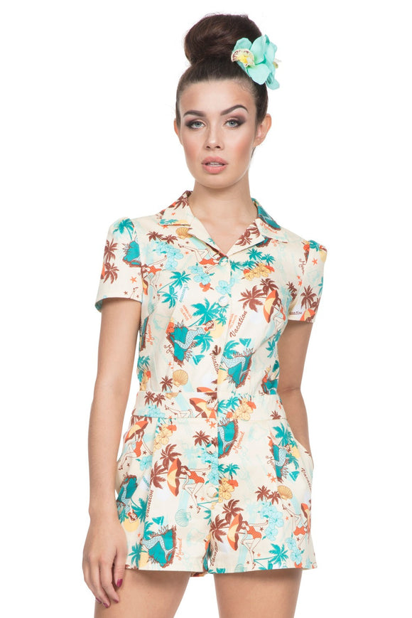 Voodoo Vixen - Women's Dakota Tropical Print Playsuit - Egg n Chips London
