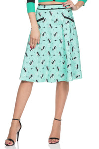 Voodoo Vixen - Women's Emma Mint Kitty Skirt - Egg n Chips London