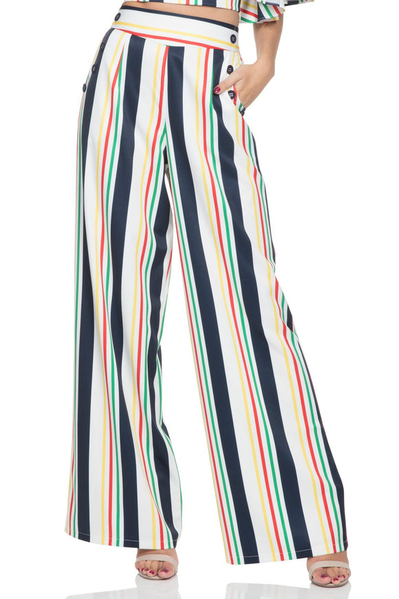 Voodoo Vixen - Women's Hailey Striped High Waist Trousers - Egg n Chips London