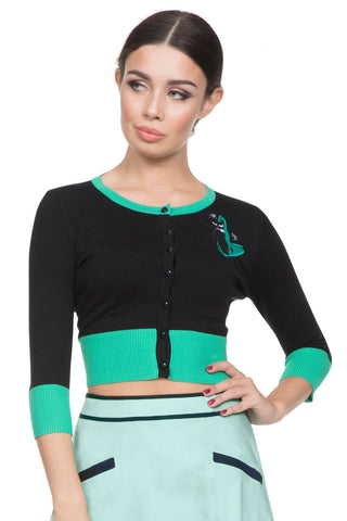 Voodoo Vixen - Women's Jade Cropped Cat Cardigan